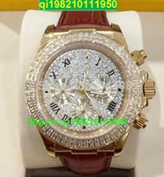 couro baixo para homens venda por atacado-Vendedor de fábrica de alta qualidade e baixo preço marca novo luxo 18k Rose Gold Pave Diamante Dial 116509 Automático Mens Watch Pulseira de Couro dos homens Esporte