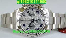 Low mechanicaL watches online shopping - factory seller High quality low price New Luxury Cosmograph White Gold Pave Diamond Dial Stainless Steel Automatic Mens Watch Men s S