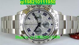 Relógios mens baratos on-line-Vendedor de fábrica Alta qualidade baixo preço Novo Luxo Cosmograph Ouro Branco Pave Diamante Dial 116509 Aço Inoxidável Automático Mens Watch S dos homens