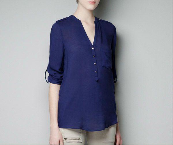 Hot Women Casual Bluzki Comfy V Neck Pojedynczy Kieszeń Z Długim Rękawem Sexy Szyfonowe Białe Koszule Fold Sleeve Pure Color Women 4006