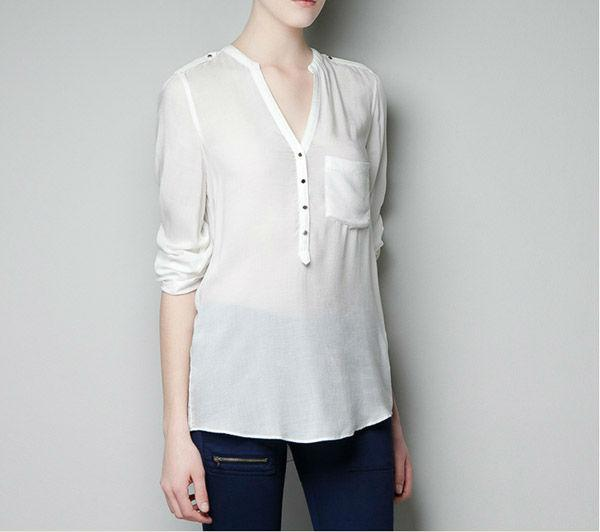 Femmes chaudes Casual Blouses Comfy Col V Poche unique À Manches Longues Sexy En Mousseline De Soie Blanc Chemises Fold Sleeve Pure Color Women 4006