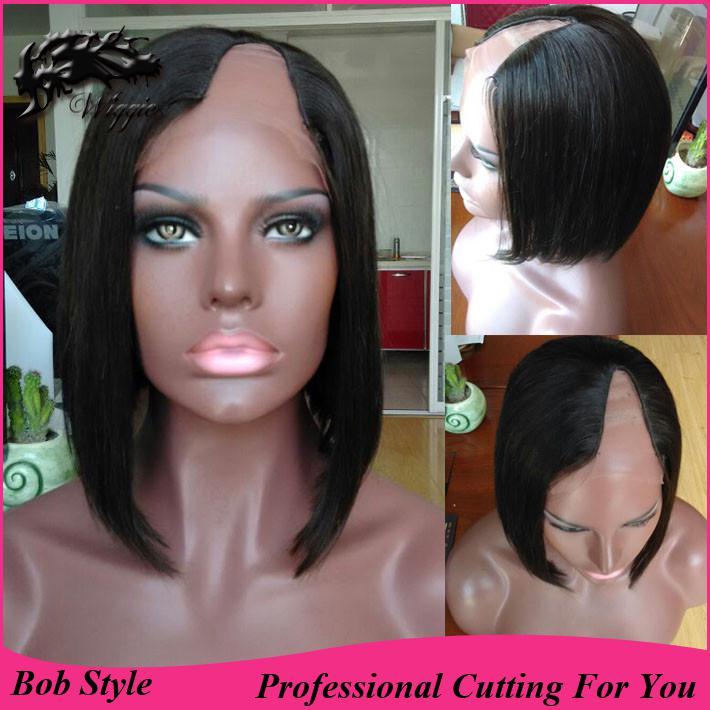 Brazilian U Part Human Hair Wigs 17 Density Bob Cut Wigs ,Cap ...