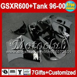 Wholesale Gsxr Grey - +Tank Black grey For SUZUKI 96 97 98 99 00 GSXR600 SRAD GSXR 600 MCT62 NEW Black grey GSX-R600 GSX R600 1996 1997 1998 1999 2000 Fairing