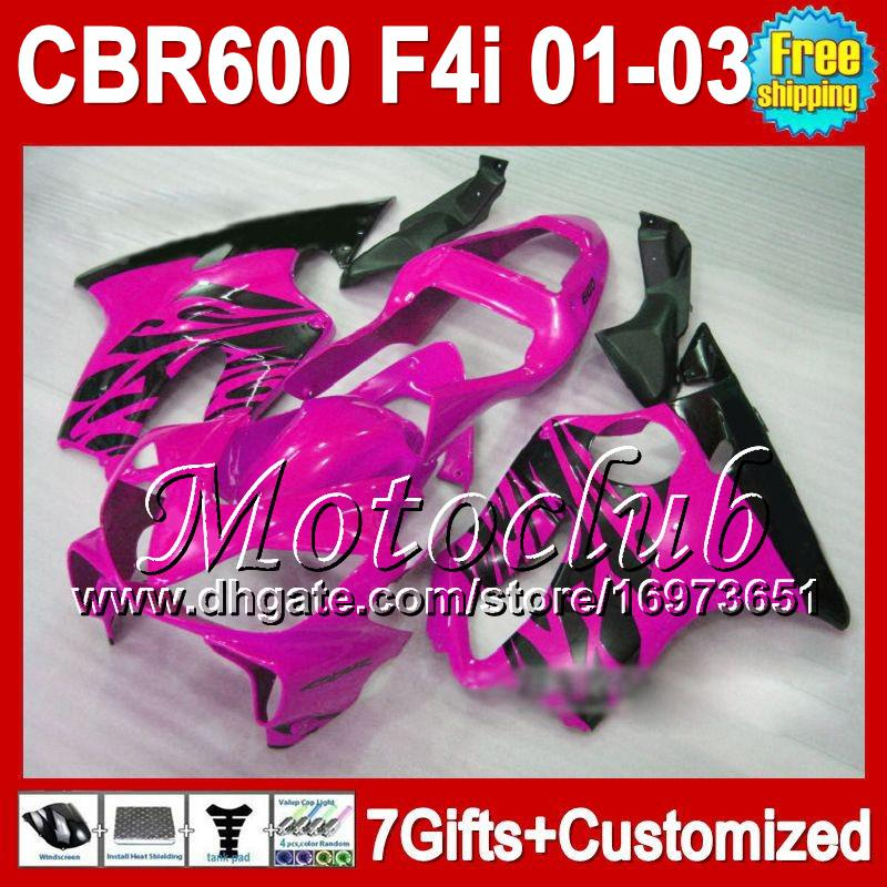 7gifts 용 HONDA 2001 2002 2003 CBR600F4i CBR600 F4i MC7210 로즈 블랙 CBR600FS FS 01-03 CBR 600 F4i 01 02 03 600F4i 광택 Pink blk Fairing