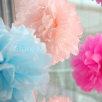 Wholesale Tissue Paper Flower Favors - Wholesale-16 colors 4inch 50Pcs Tissue Paper POM POMS Flower Kissing Balls Home Decoration Festive & Party Supplies Wedding Favors