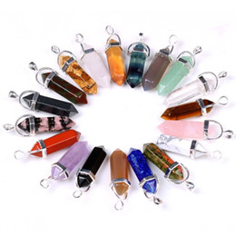 Wholesale Mix Crystal Points - Finding - 8pcs Mixed Color Gem stone drzuzy Agate Natural Crystal Healing Point Chakra Reiki Pendant Jewelry Gift
