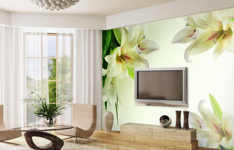 Luxury photo wallpaper murals tv sofa background for Wallpaper images for house walls