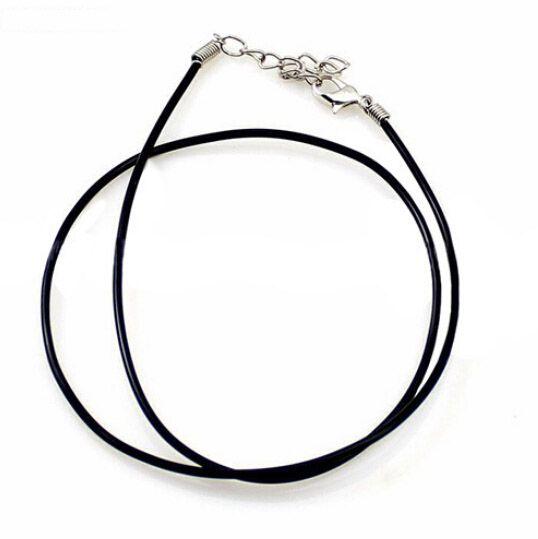 DIY 공예 패션 쥬얼리 18inch W4에 대 한 랍스터 걸쇠가있는 / 검은 고무 코드 목걸이