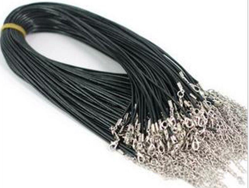 100st / mycket svart gummiband halsband med hummerklastor för DIY Craft mode smycken 18inch W4