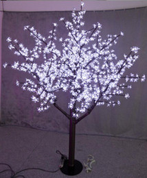 Wholesale White Blossom Lights - 1.5m 5ft Height Outdoor Artificial Christmas Tree LED Cherry Blossom Tree Light 480pcs LEDs Straight Tree Trunk Free Shipping LED Light Tree