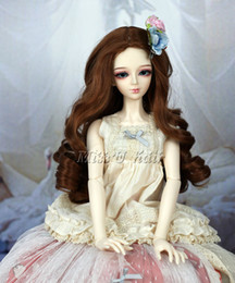 "Wholesale Bjd Wig Brown - 8-9"" 1 3 BJD Wig Super Dollfile Hair SD DZ DOD LUTS Brown Curly Wigs (1 4 1 6 available)"