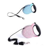 Wholesale Crystal Retractable Leash - Wholesale-1 x Nice Dog Pet Crystal Retractable Harness Dog Automatic Leash Ropes Pink Blue 2014 Hot Selling
