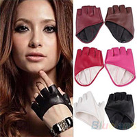 Wholesale Ladies Leather Half Gloves - Fashion PU Half Finger Lady Leather Lady's Fingerless Driving Show Jazz Gloves for Women Men Free Shipping 02AX