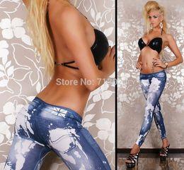 Wholesale Leggings Grinding - 2014 New Stylish Lady's Washing Grinding White Denim Like Faux Jean Pants Leggings Denim Pencil Pants Free Shipping GY9009