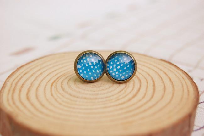 10mm Blau Ohrringe Weiße Punkte Weihnachten Ohrstecker für Kinder Kinder Vintage-Schmuck rd045
