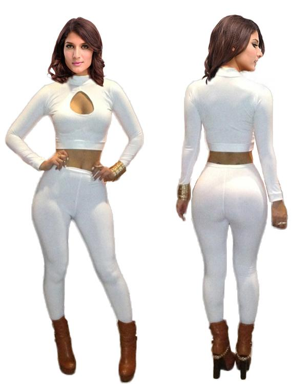 2019 White Two Piece Long Tight Women Sexy Jumpsuit Turtleneck