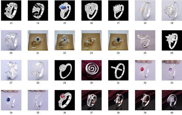 2014 orta Eylül yeni 30 ADET Karışım Bayanlar Moda Yüzükler 925 Gümüş Çok Rhinestone Göz Kamaştırıcı Yüzükler mix Boyutu 7 8