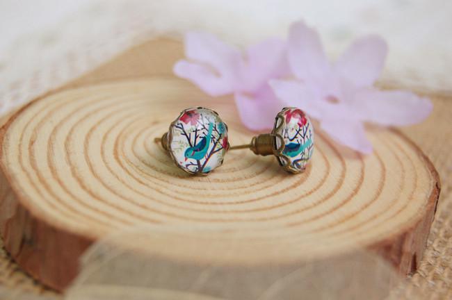 10mm Blue Bird Flowers Earrings Animal Christmas Stud Earrings for Kids Children Vintage Jewelry rd046