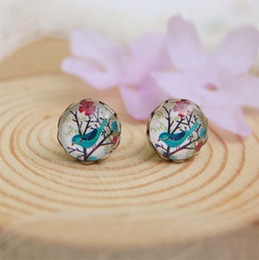 Wholesale Flower Birds - 10mm Blue Bird Flowers Earrings Animal Christmas Stud Earrings for Kids Children Vintage Jewelry rd046
