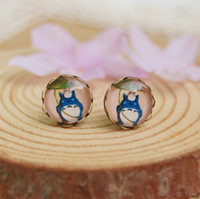 Wholesale Cute Cat Anime - 10mm Anime Totoro Stud Earrings Cute Cartoon Cat Earrings for Girls Women rd047