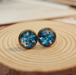 Wholesale Ideal Wholesale - 10mm Blue Floral Stud Earrings for Girls Bohemian Ideal Christmas Earrings Vintage Jewelry rd047