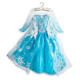 Wholesale Material Girls - Frozen dresses Elsa Anna dresses Long sleeve baby girl dress material cotton Size:100-110-120-130-140 stock (1701005)