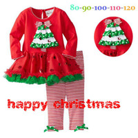 Wholesale Girl Red Tights Tutu - Toddler baby Christmas tree set girls ruffles polka dot lace dress + stripe pants tight outfit children long sleeve party costume suit