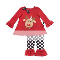 Wholesale Christmas Costumes Outfit Pants - Toddler baby Christmas wear set girls long sleeve deer t-shirt + polka dot ruffle pants 2pcs suit kid New Year party costume children outfit