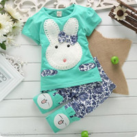 Wholesale Pink Toddler Pants - Wholesale-2015 2PC Baby Kids Girls Boys Toddlers Cute White Rabbit Top+Short Pants Set baby Clothes