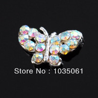 Wholesale Glitter Butterflies Decorations - 10 peices colorful silver butterfly Yesurprise Mix color-shaped 3D Alloy Nail Art Slices Glitters DIY Decorations