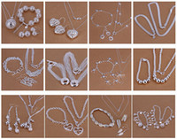 Wholesale Delicate Bracelets - Free Shipping with tracking number Best Most Hot sell Women's delicate gift jewelry 925 silver plated mix jewelry set 1025