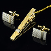 Wholesale Male Gift Set Tie - Wholesale-2014 New French style Elegant Men shirt lapel Golden fashion Neck tie pin clamp tie clip Cuff links Cuff Nail Set Male Gift