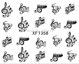 Wholesale Halloween Sticker Nails - New Nail Designs Black Color Music Note Water Transfer Nail Art Sticker Acrylic Tips Accessory Decoration For NailsFreeShipping