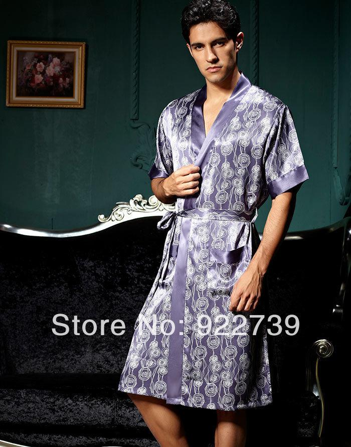 2018 2014 Spring Mens Short Sleeve Printed Kimono Satin Silk ...