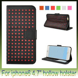 Wholesale Iphone Case Polka Leather - For iPhone 6 Wallet Style Soft Hollow polka dot PU Leather Stand Case Bag Cover With Card Holders for iphone6 4.7 inch
