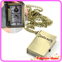 "Wholesale Death Note Pocket Watch - Wholesale-Y92"" Ladies Quartz Pocket Watch Necklace Open Death Note Design Pendant Gift Free Shiping"