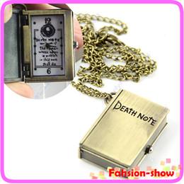 "Wholesale Death Note Pocket Watch - Wholesale-Y92"" Ladies Quartz Pocket Watch Necklace Open Death Note Design Pendant Gift Free Shiping"