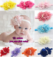 Wholesale Wholesale Vintage Hair Flowers - Wholesale-Baby Girls Kids Adorable Hair Bands Vintage Roses Pearls Flowers Infant Children Hair Accessories Pretty Headbands Multicolor