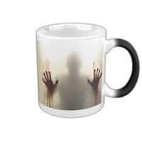 Canecas de morphing personalizadas por atacado o morto ambulante Coffee Tea Milk Hot Heat Heat Sensitive Mudança de cor preto e branco 11 Oz Ceramic Mug