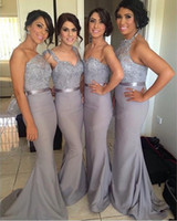 Wholesale Halter Blue Backless Beads - SSJ 2016 Dark gray Mix Long Bridesmaid Dresses Halter Mermaid Sexy Cheap Prom Dress Backless Formal Evening Gowns BO6556