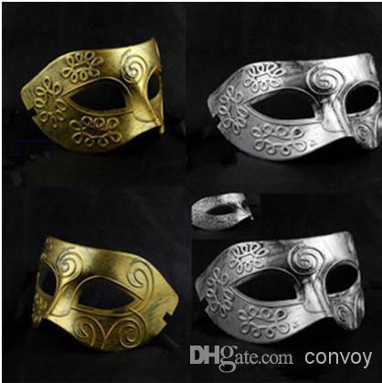 New Mens Halloween Greece Rome warrior make up mask half face masquerade Grace dance party mask colors gold silver Half Face Mask Hm06