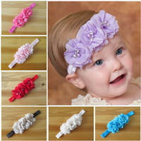 Wholesale Chiffon Flowers Sewing - Wholesale -New Arrival Baby Toddler Head Flower Hair Accessories Chiffon Hand Sewing Good Beautiful Girl Headbands Headwear Kids Hair Band