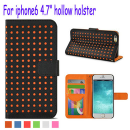 Wholesale Iphone Case Polka Leather - For iPhone6 6G 4.7inch Wallet Style Soft Hollow polka dot PU Leather Stand Case Bag Cover With Card Holders for iphone 6 i6