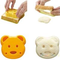 ayı sandviç kalıp ekmek toptan satış-Küçük Teddy Bear Şekil Ekmek Kek Sandviç Kalıp Makinesi DIY Kalıp Kesici Craft 00DT