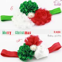 Wholesale Ma Silk - 1pcs Baby girl Christmas headbands satin flower headband for Newborn kids gifts X-mas headband hair Accessories L51