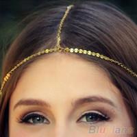 Wholesale Chain Headpieces - Bohemia Women's Crown Hair Head Cuff Chain Gold Sequins Headband Headpiece B02 1KYU