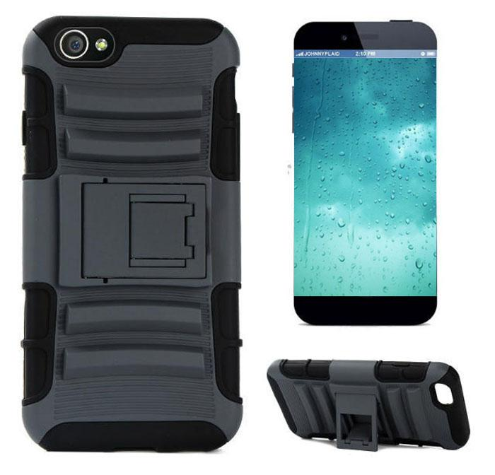 Dla iPhone 6 Plus 4,7 5,5 cala Robot Double Layer Guberized 3 w 1 TPU + PC Silicone Case Heavy Duty Cover Stand