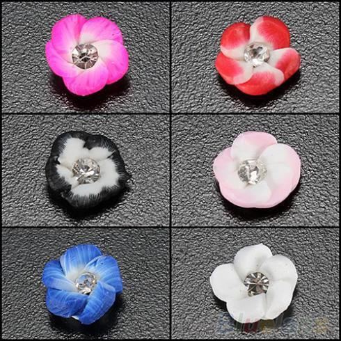 20 Pcs DIY Decorações 3D Flor De Cerâmica Strass Dicas Da Arte Do Prego Projeto 6 Cores 000C 01BC