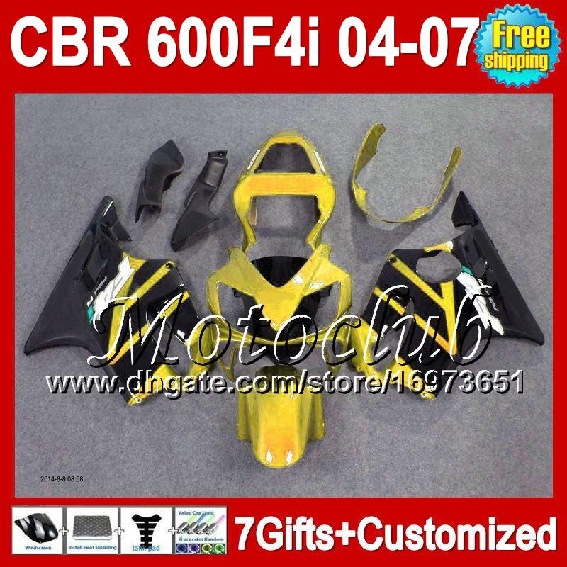 7gifts Gold black For HONDA CBR600 F4i CBR 600 F4i 04-07 04 06 07 1MC422 Golden black 05 2005 FS CBR600F4i 600F4i 2004 2006 2007 Fairings
