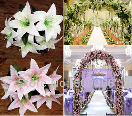 "Wholesale Silk Lily Bouquets - Wholesale-10PCS Artificial Tiger Lily Silk 6"" Flower Heads Fake Wedding Arch Bridal Bouquet Decor Free Shipping Milk White Pink Color"
